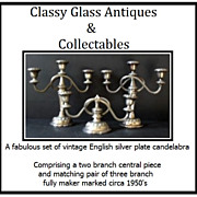 SALE Vintage English Silverplate Candelabra Garniture Set