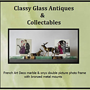 SALE c20th French Art Deco 23 inch Marble Picture Photo Frame with Stag & Hind Metal Mounts.