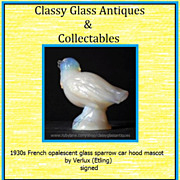 Large Opalescent Glass  Sparrow Car Hood Mascot Figurine by Verlux � Etling. Signed