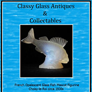 French Opalescent Glass Perch Fish Mascot Figurine. Choisy-le-Roi circa 1930s