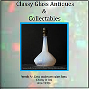 French Choisy-le-Roi Art Deco Opalescent Glass Table Lamp Base