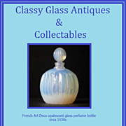 1930s French Opalescent Glass Perfume Scent Bottle. Mint, Perfect & Pristine...
