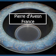 Pierre dAvesn French opalescent glass bowl circa 1930s. Fully signed & mint.