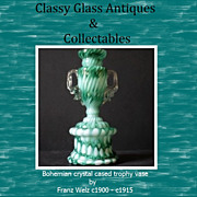 Bohemian crystal cased green & white spatter glass Trophy vase by Franz Welz