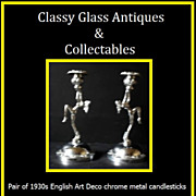 Highly Stylish PAIR of English Art Deco Chrome Metal Lady Candlesticks