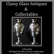 Large & highly stylish pair of English Art Deco chrome metal vases