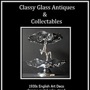 1930s English Art Deco 2 tier chrome metal dancing lady center piece comport � cake stand