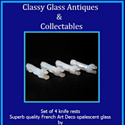 Set of Four French Art Deco Opalescent Glass Knife Rests by Danielo c1930s