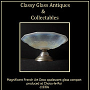 Fab 1930s French Art Deco Opalescent Glass & Chrome Metal Comport - Choisy-Le-Roi