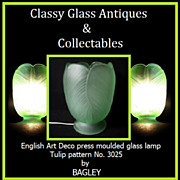 Mint Condition � 1930s English Art Deco press moulded glass lamp by Bagley � Tulip pattern No.
