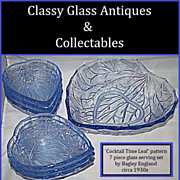 7 Piece English Art Deco Crystaltynt Glass Serving Set by Bagley