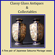 Quality Pair of Satsuma Moriage Enamelled & Gilded Vases. Signed.