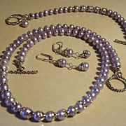 Lilac Freshwater Pearl and Sterling Set- Necklace, Earrings, and Bracelet