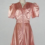 1930's Saybury Dressing Gown / Vintage Satin Dress