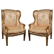Pair Gilt Wood Louis XVI Bergeres, 19th C