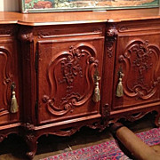 French Provincial Buffet, Period Louis XV, Hand Carved