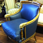 Regency Bergere, Leather, Parcel Gilt Carvings, Mid 20th C
