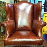 Queen Anne Leather Wing Chair, 19th C
