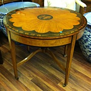 English Marquetry Drum Table, Satinwood, Early 19th Century
