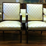 Pair Directoire- Louis XVI Arm Chairs, Ormolu Mounts, 18th C