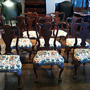 Queen Anne Dining Chairs, 8 Walnut