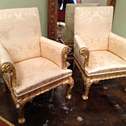 Irish Gilt Wood Chairs, George II, Pair
