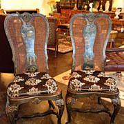 Lacquered Chinoiserie Side Chairs, Pair