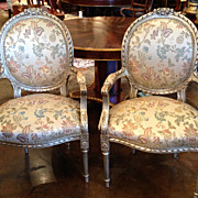 Louis XVI Silver Leaf Armchairs, 19th C, Pair