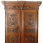 Extraordinary Period Louis XVI Walnut Armoire or Wardrobe, 18th C