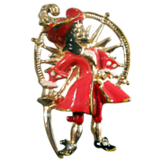 Coro Disney Captain Hook Pin Compass Rare Figural Signed