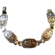 REDUCED Egyptian .800 Silver Ankh Bracelet Vintage