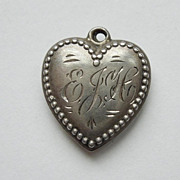 Sterling Silver Puffy Heart � Beaded Edge � Engraved 'EJH'