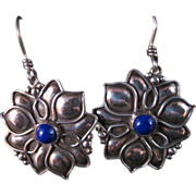 Vintage Handcrafted Fabricated Sterling Silver and Lapis earrings. Superb workmanship.