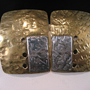 Vintage  textured Sterling Silver and Brass Earrings 1970�s Crafts Movement