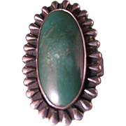 Southwest  Green Turquoise and silver ring. Bold style, Elongated. Size 5