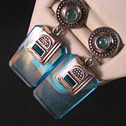 Sterling Silver Blue Topaz, Blue Glass Vintage Earrings.