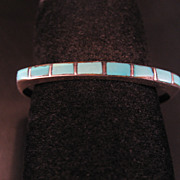 Southwest Zuni Style Sterling Silver Child's Bracelet  Features Turquoise Channel Inlay