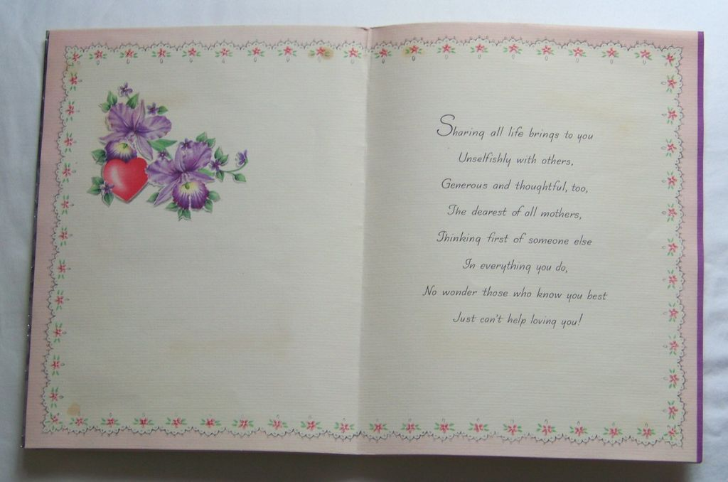 Sale Valentine 39 S Day Card For Mother Hallmark 1940 39 S