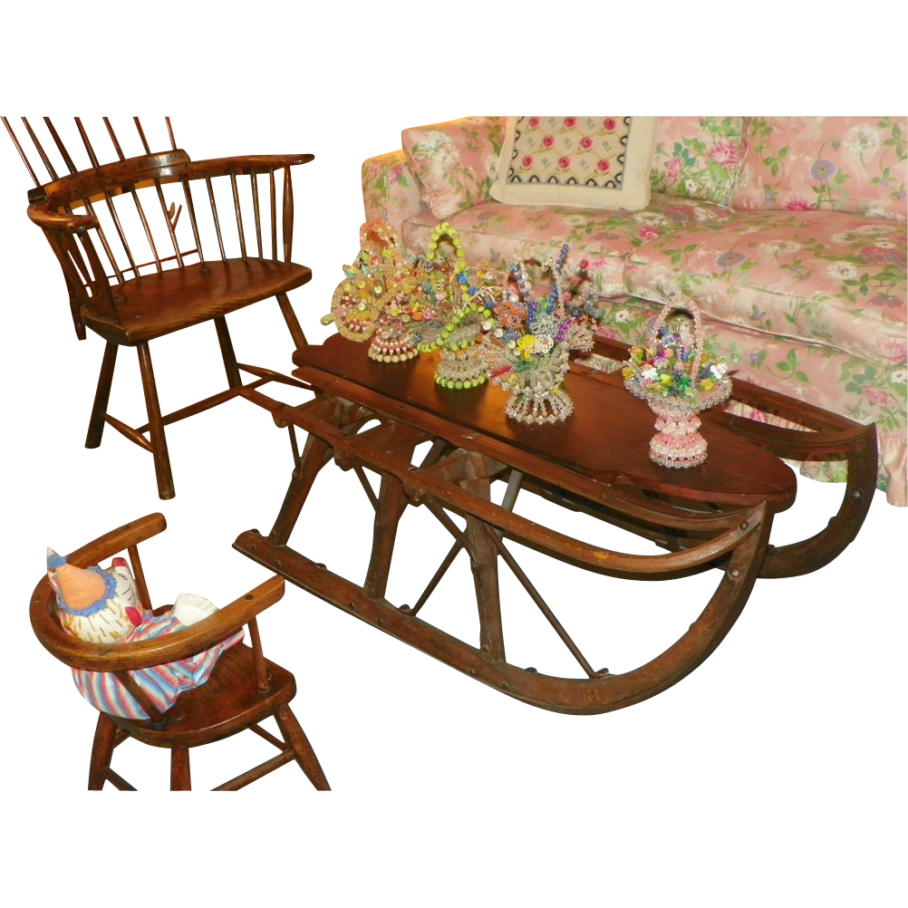 Sale sled farm coffee table hand made antique 1800 39 s iowa from halsll on ruby lane Antique sleigh coffee table