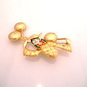 Vintage Massive POLCINI Ballon Bow Tie Painted Brooch/Pin