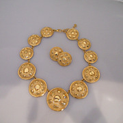 Vintage Fabulous Gold Tone Christian Dior Necklace With Earrings