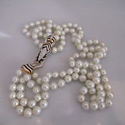 Vintage Massive Ciner Zebra Rhinestone Glass Pearl Necklace