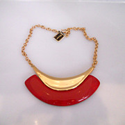 Vintage Fabulous Monet Red Gold Tone Massive Necklace