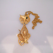 Vintage Fabulous Cat Gold Tone Necklace