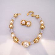 Vintage Faux Pearl Gold Tone Lucite Ball Necklace With Earrings
