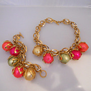 Vintage Fabulous Gold Tone Bauble Necklace And Bracelet Signed Dominique Aurientis