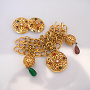 Vintage Fabulous Gold Tone Bracelet And Earrings Signed Dominique Aurientis