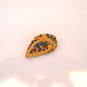 Vintage Massive French Domed Paisley Shape Rhinestone Clip
