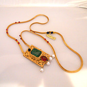 Vintage KJL Long Chain With Faux Gem Stones Cabochon Necklace
