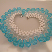 Vintage Fabulous Massive Clear Aqua Woven Necklace/Collar